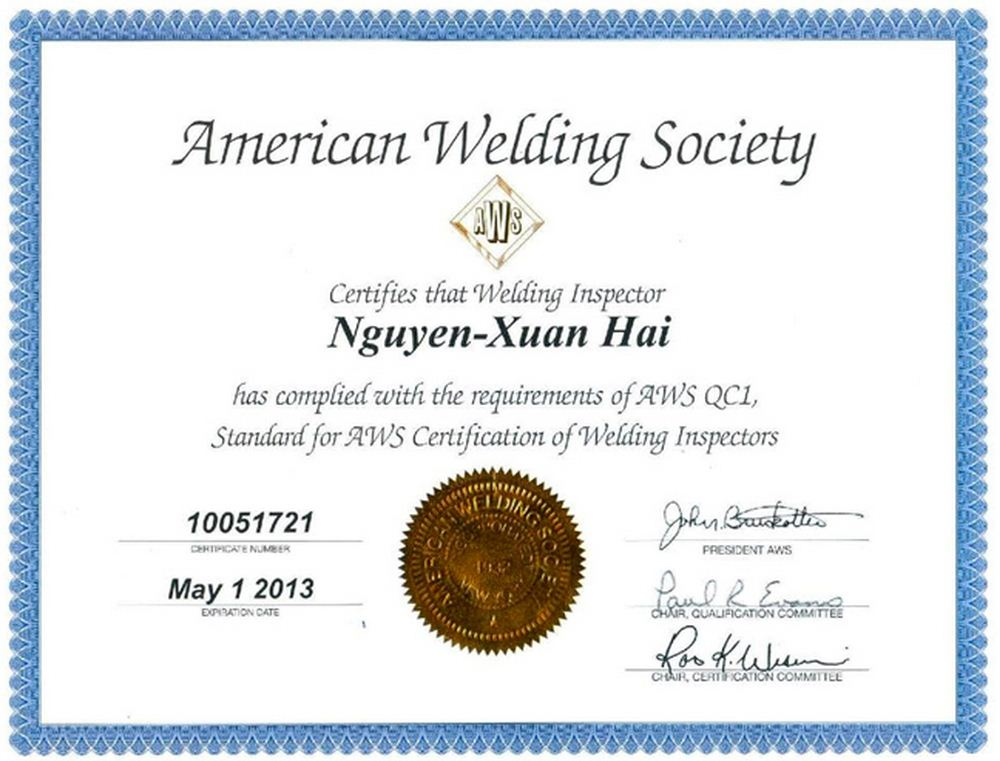 Aws Certification Of Welding Inspectors Welcome To Sea Pts Coltd