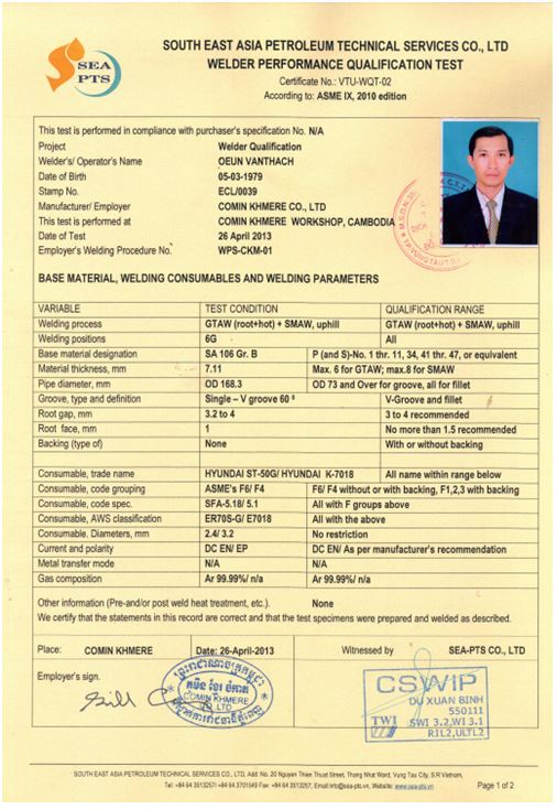Welding Qualification And Certification - Welcome to SEA-PTS Co.,Ltd